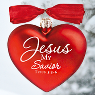 Jesus My Savior, Heart of Christmas Glass Heart Ornament  -