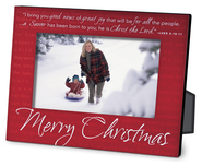 Merry Christmas Red Metal Photo Frame  -