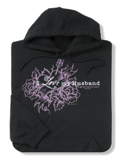 I Love My Husband, Black Hooded Sweatshirt, Small (36-38)  -