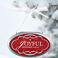 Joyful Oval Christmas Plaque Ornament  -