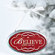 Believe Oval Christmas Plaque Ornament  -