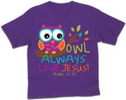 Owl Always Love Jesus Shirt, Purple, Youth Medium  -