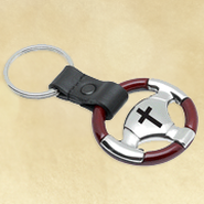 Steering Wheel Key Ring w/ Cross  -