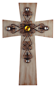 Antique Wash Gem Cross  -