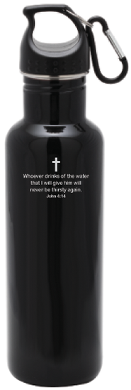 Stainless Steel Sport Bottle, Black   -