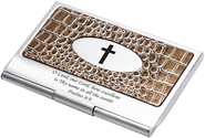 Business Card Holder, Croc Brown  -