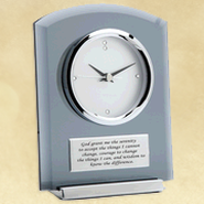 Smoke Glass Desk Clock, Serenity Prayer  -