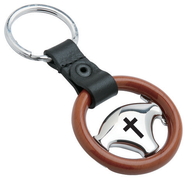 Steering Wheel Key Ring with Cross  -