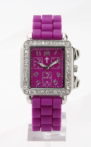 Chronograph Style Square Face Silicone Band, Purple  -