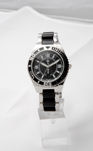 Chronograph Style Watch, Black and Silver  -