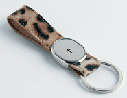 Finger Strap Keyring with Cross, Leopard  -