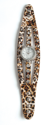 Triple Band Watch with Cross, Leopard with Rhinestones  -