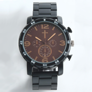 Chronographic Style Watch with Cross on Round Face, Black, Boxed  -