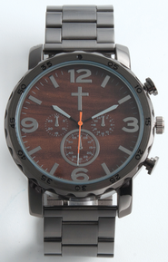 Chronographic Style Watch with Cross on Round Face Gray, Boxed  -