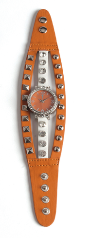 Triple Band Watch with Cross, Orange and White with Rhinestones  -