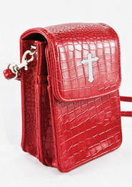 Crossbody Wristlet, Faux Patent Leather Croc-Look, Red  -
