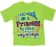 Yes I Am A Princess Shirt, Green, Youth Small  -