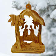 Olive Wood, Manger Angel Ornament   -
