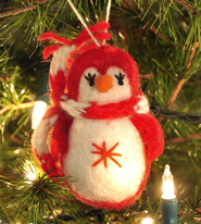 Penguin Ornament, Red, Fair Trade Product  -