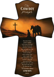 Cowboy Prayer Cross, Small  -              By: Judith Durr