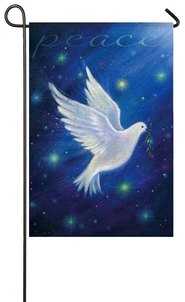Peace Dove, Blue, Small Flag  -