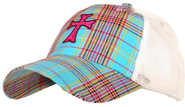 Plaid Cap with Cross  -