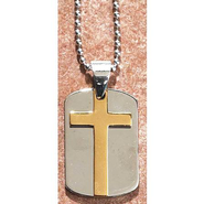 Dog Tag Pendant with Cross, Silver and Gold  -