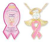 Pink Ribbon Angel Pendant   -