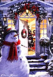 Snowman Open Hearts Christmas Card, Pack of 20   -