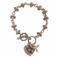 Believe For a Cure Bracelet, Pink Heart  -