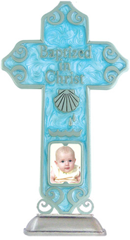 Baptized in Christ Tabletop Cross, Blue  -