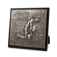 Football I Can Do All Things Moments of Faith Sculpture Plaque  -