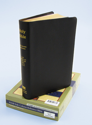 NAS Updated Side-Column Reference Bible, Genuine leather, black   -              By: Bible