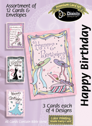 Hats and Ribbons Birthday Cards, Box of 12  -