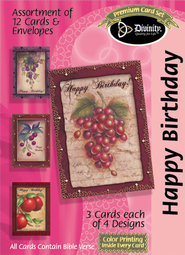 Grapes Happy Birthday Cards, Box of 12  -