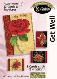Rose Get Well Cards, Box of 12  -