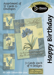Flowers Happy Birthday Cards, Box of 12  -