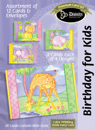 Animals Birthday for Kids Cards, Box of 12  -