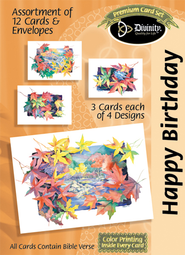 Autumn Scenes Birthday Cards, Box of 12  -