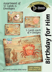 Postcards Birthday for Him Cards, Box of 12  -