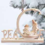 White Word Ornament, Peace  -