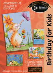 Little Creatures Birthday Cards for Kids, Box of 12  -