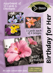 Flowers on Gray Birthday Cards, Box of 12  -