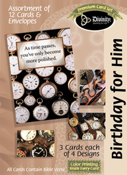 Time Pieces Birthday Cards, Box of 12  -