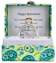 Happy Retirement Glass Timepiece in Silk Box  -