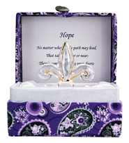 Hope Glass Fleur de Lis in Silk Box  -