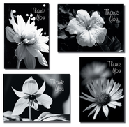 Black and White Flowers Thank You Cards, Box of 12  -