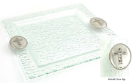 Square Glass Tray with Cross  -