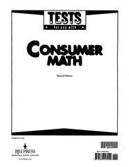 BJU Consumer Math Tests. (Second Edition) Grades 11 to 12   -