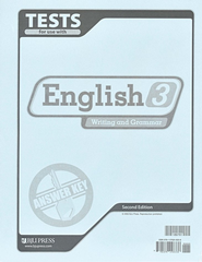 BJU English 3: Writitng & Grammar, Tests Answer Key, 2nd Edition    -